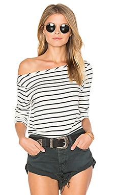 Francoise Tee in Ivory & Darkest Spruce Stripe