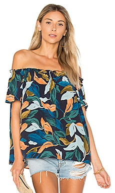 Rosemary Top in Navy Leaf Print