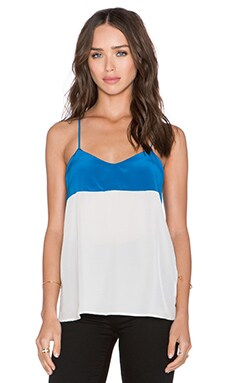 amour vert Denise Cross Back Tank in Palace Blue & White