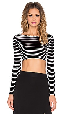 Christy Crop Top in Black & Ivory Stripe