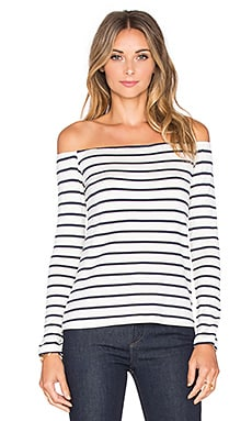 Shae Top in Ivory & Navy Stripe
