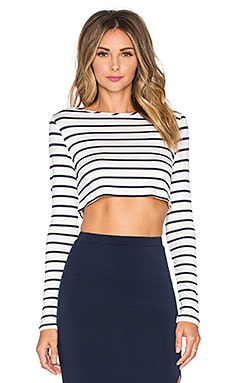 Christy Crop Top in Ivory & Navy Stripe