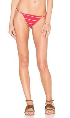 Nautico Listrado Fino Bikini Bottom en Vermelho Rosso