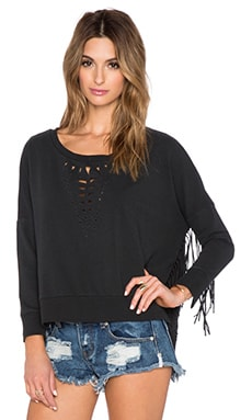 AMUSE SOCIETY Whimsy Fleece Sweater in Black Sands