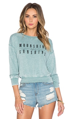 AMUSE SOCIETY Shine On Fleece Sweatshirt in Light Teal