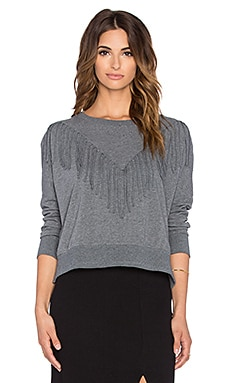 AMUSE SOCIETY Keller Fringe Sweatshirt in Dark Heather Grey