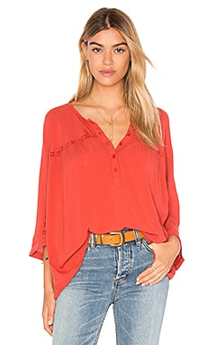 Olivia Woven Top in Salsa Red