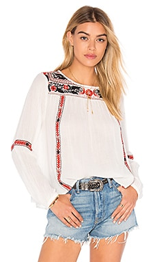 AMUSE SOCIETY Madyson Woven Top in Casa Blanca