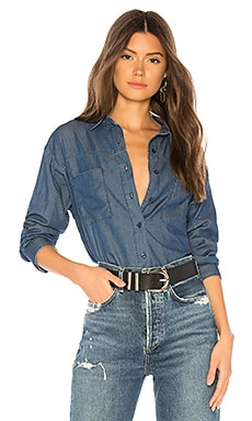 Indigo Dreams Woven Top AMUSE SOCIETY $66 BEST SELLER