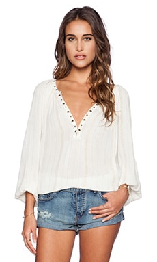AMUSE SOCIETY Caden Woven Top in Casa Blanca