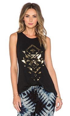 AMUSE SOCIETY Distressed Geo Tank in Black Sands