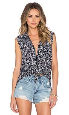 AMUSE SOCIETY Ember Button Up Top in Black Sands
