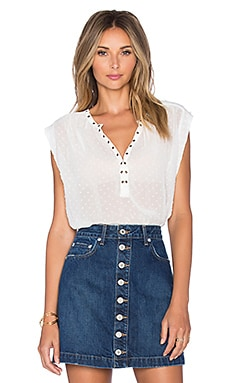 AMUSE SOCIETY Cara V Neck Blouse in Casa Blanca