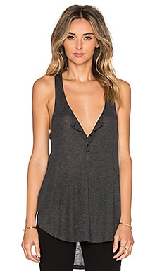 AMUSE SOCIETY Liv Button Front Tank in Charcoal Heather