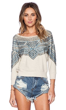 Marley Fleece Top en Beige Chiné