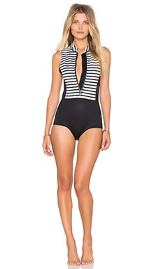 Kalea Striped Neoprene One Piece in Black Sands