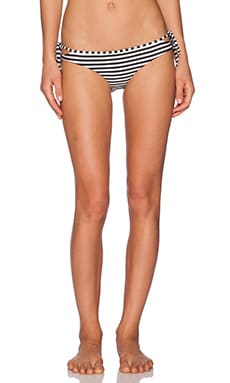 AMUSE SOCIETY Cora Stripe Everyday Bikini Bottoms in Black Sands