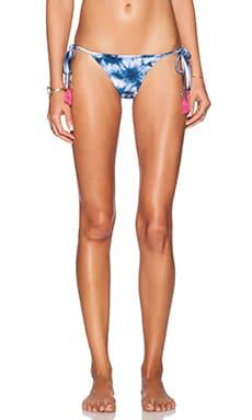 AMUSE SOCIETY Delray Tie Dye Cheeky Bikini Bottom in Faded Indigo