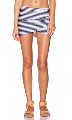 AMUSE SOCIETY Everyday Stripe Skirt in Faded Indigo