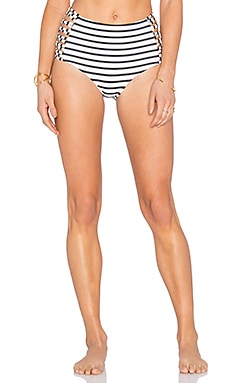 AMUSE SOCIETY Sola Stripe High Rise Bikini Bottom in Casa Blanca