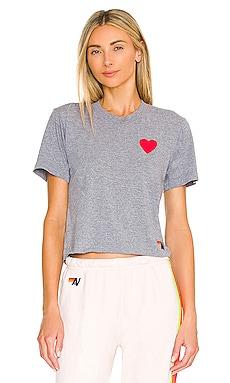 Heart Embroidery Boyfriend Tee Aviator Nation $83 NEW