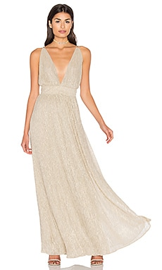 V Neck Gown in Gold