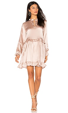 Frill Silk Dress in Rose