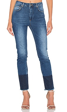 Jeans With Hem Detail in Blue