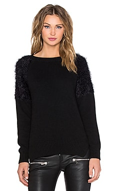 ANINE BING Fluffy Shoulder Sweater in Black
