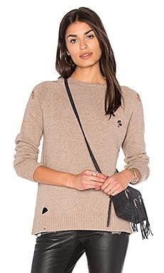 Distressed Knit Sweater in Taupe