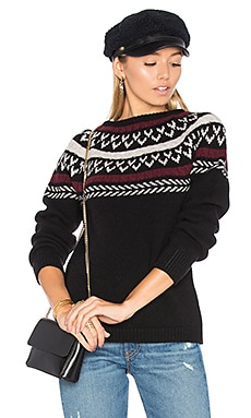 Neck Knit Detail Sweater in Black