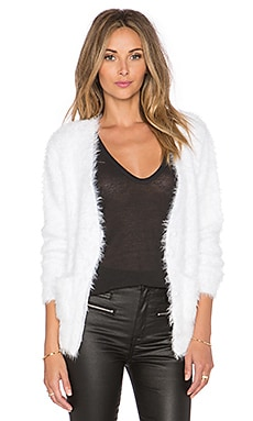 ANINE BING Fuzzy Cardigan in White