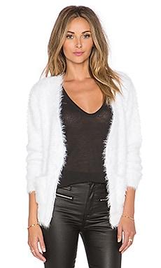 ANINE BING Fuzzy Cardigan in White