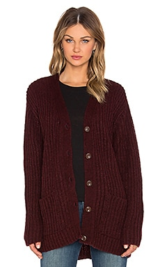 ANINE BING Long Sleeve Cardigan in Burgundy