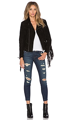 ANINE BING Suede Fringe Jacket in Black