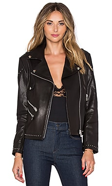 ANINE BING Studded Moto Jacket in Black