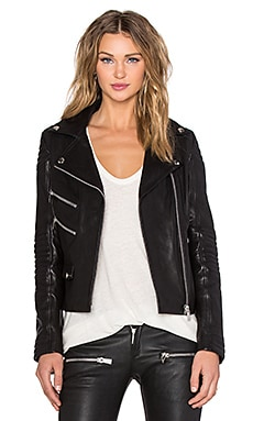 ANINE BING Biker Leather Jacket in Black