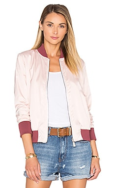 ANINE BING Satin Reversible Bomber Jacket in Pink
