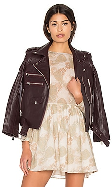 Biker Leather Jacket in Burgundy