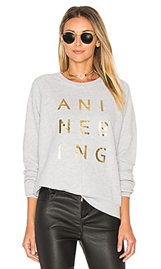 Gold Print Sweatshirt in Grey Melange