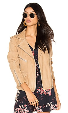 Biker Suede Jacket in Beige