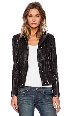 ANINE BING Moto Leather Jacket in Black