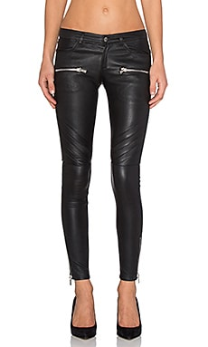 ANINE BING Leather Biker Pants in Black