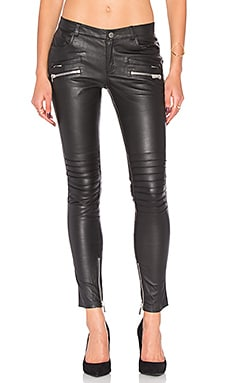 Biker Leather Pant in Schwarz