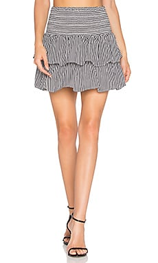 Striped Silk Skirt in Black