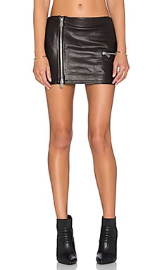 Biker Leather Skirt in Black