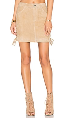Lace Up Skirt in Sand Suede