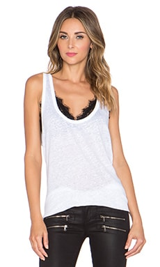 ANINE BING Linen Tank Top in White