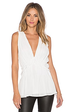 ANINE BING Pleated Top in White