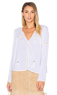 ANINE BING Long Sleeve Bohemian Top in Off White